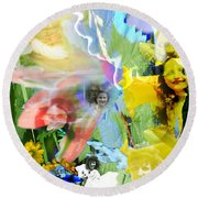 Round Beach Towel featuring the digital art Framed In Flowers by Cathy Anderson