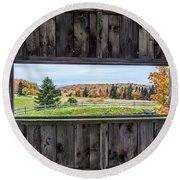 Framed-autumn In Vermont Round Beach Towel