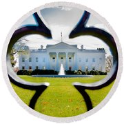 Framed Whitehouse Round Beach Towel