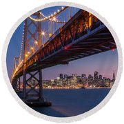 Framing San Francisco Round Beach Towel by Mihai Andritoiu