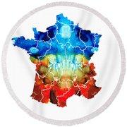 France - European Map By Sharon Cummings Round Beach Towel