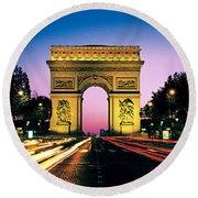 France, Paris, Arc De Triomphe Round Beach Towel