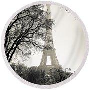 The Eiffel Tower Paris France Round Beach Towel