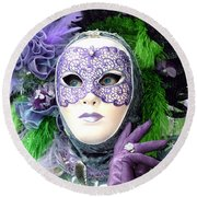 Round Beach Towel featuring the photograph Francine's Purple Glove by Donna Corless