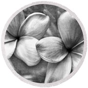 Frangipani In Black And White Round Beach Towel by Peggy Hughes