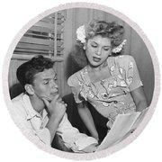 Frank Sinatra & Eileen Barton Round Beach Towel by Underwood Archives