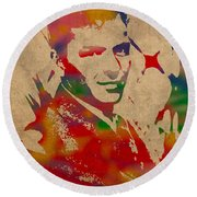 Frank Sinatra Watercolor Portrait On Worn Distressed Canvas Round Beach Towel