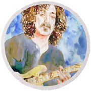 Frank Zappa Playing The Guitar Watercolor Portrait Round Beach Towel