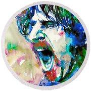 Frank Zappa  Portrait.4 Round Beach Towel by Fabrizio Cassetta