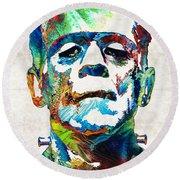 Frankenstein Art - Colorful Monster - By Sharon Cummings Round Beach Towel