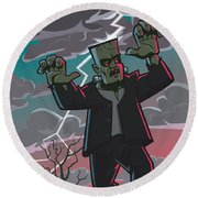 Frankenstein Creature In Storm  Round Beach Towel