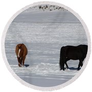 Round Beach Towel featuring the photograph Free Spirits by Fiona Kennard