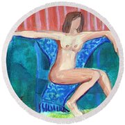 Round Beach Towel featuring the painting Dare To Be Bare In A Big Green Chair by Betty Pieper