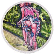 Round Beach Towel featuring the painting Free by Viktor Lazarev