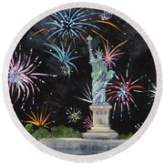 Round Beach Towel featuring the painting Freedom by Judith Rhue