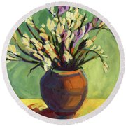 Freesias Round Beach Towel