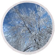Round Beach Towel featuring the photograph Freezing Rain ... by Juergen Weiss