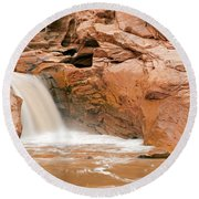Fremont River Falls Capitol Reef National Park Round Beach Towel