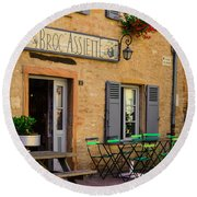 Round Beach Towel featuring the photograph French Auberge by Dany Lison