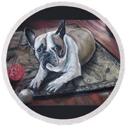 french Bull dog Round Beach Towel by Peter Suhocke