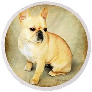 Round Beach Towel featuring the photograph French Bulldog Antique by Barbara Chichester