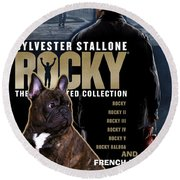 French Bulldog Art - Rocky Movie Poster Round Beach Towel