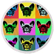 French Bulldog Round Beach Towel