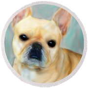 Round Beach Towel featuring the painting French Bulldog Mystique D'or by Barbara Chichester