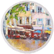 French Cafe Avignon Palette Knife Oil Painting Round Beach Towel