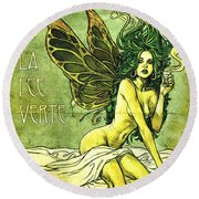 French Cafe Poster C1885 Round Beach Towel