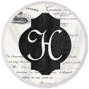 French Champagne Monogram Round Beach Towel