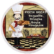 French Chef-a Round Beach Towel by Jean Plout