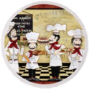 French Chefs-bon Appetit Round Beach Towel by Jean Plout