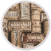 French Corks Round Beach Towel