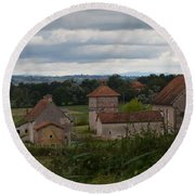 French Farm House Round Beach Towel