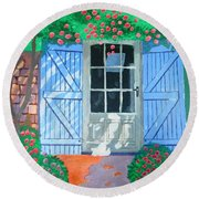 Round Beach Towel featuring the painting French Farm Yard by Magdalena Frohnsdorff