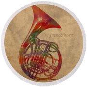 French Horn Brass Instrument Watercolor Portrait On Worn Canvas Round Beach Towel