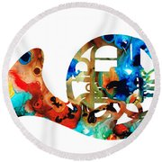 French Horn - Colorful Music By Sharon Cummings Round Beach Towel by Sharon Cummings