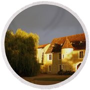 French House At Sunset Round Beach Towel