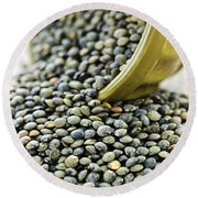 French Lentils Round Beach Towel