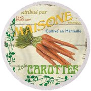 French Veggie Sign 2 Round Beach Towel by Debbie DeWitt