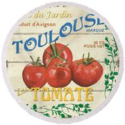 French Veggie Sign 3 Round Beach Towel by Debbie DeWitt