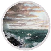 Round Beach Towel featuring the painting Frenchman's Bay by Lee Piper