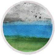 Fresh Air- Landscape Painting Round Beach Towel