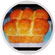Fresh Baked Bread Three Bun Loaf Round Beach Towel