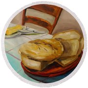 Round Beach Towel featuring the painting Fresh Bread by John Williams