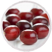 Round Beach Towel featuring the photograph Fresh Cranberries Isolated by Lee Avison