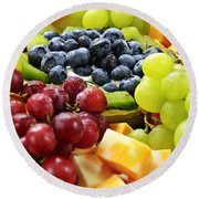Fresh Fruits And Cheese Round Beach Towel