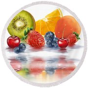 Fresh Fruits Round Beach Towel