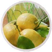 Fresh Lemons With Leaves In Bowl, Lemon Juice, Sugar Round Beach Towel